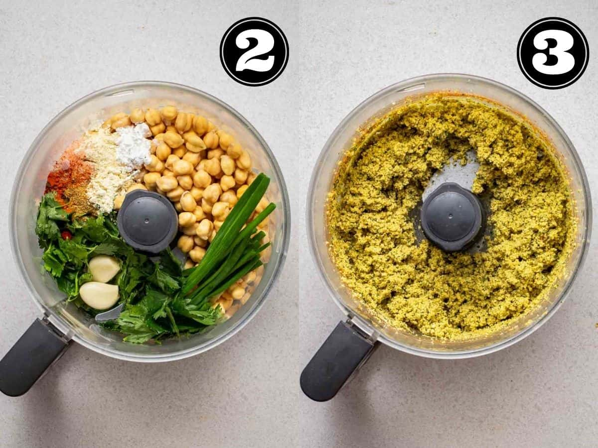 Collage showing before and after processing ingredients for falafel mixture in food processor.