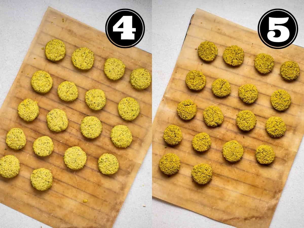 Collage showing before and after baking falafels in a baking tray lined with parchment paper.