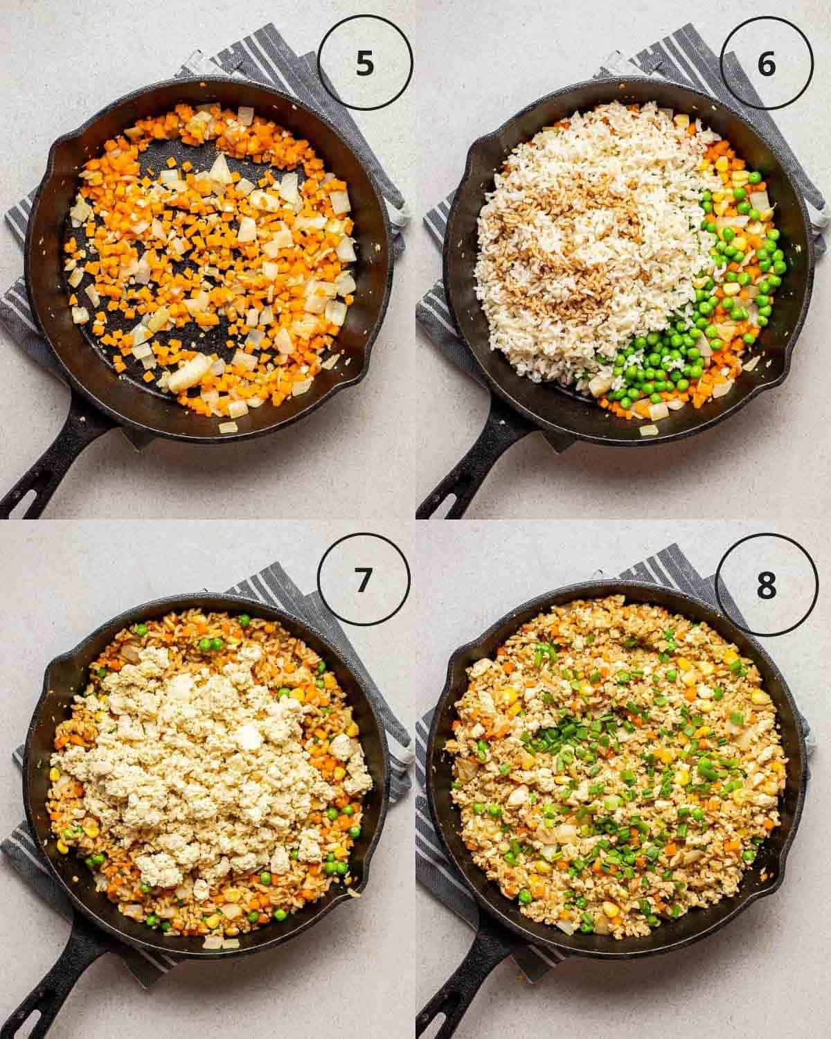 A collage showing sauteing carrot, adding in rice and vegetables, adding in scrambled tofu and topping with chopped scallions in a cast iron skillet.