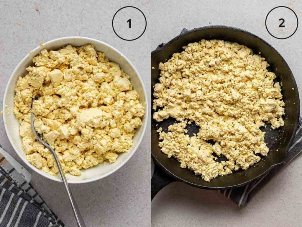 Collage showing mixing in seasonings into tofu and cooking scrambled tofu in a skillet.