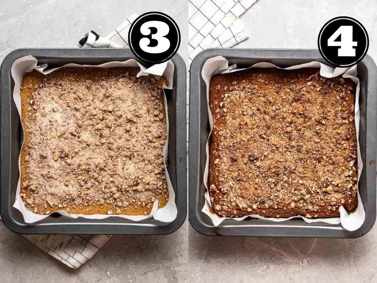 Collage showing before and after baking coffee cake in a square grey pan.