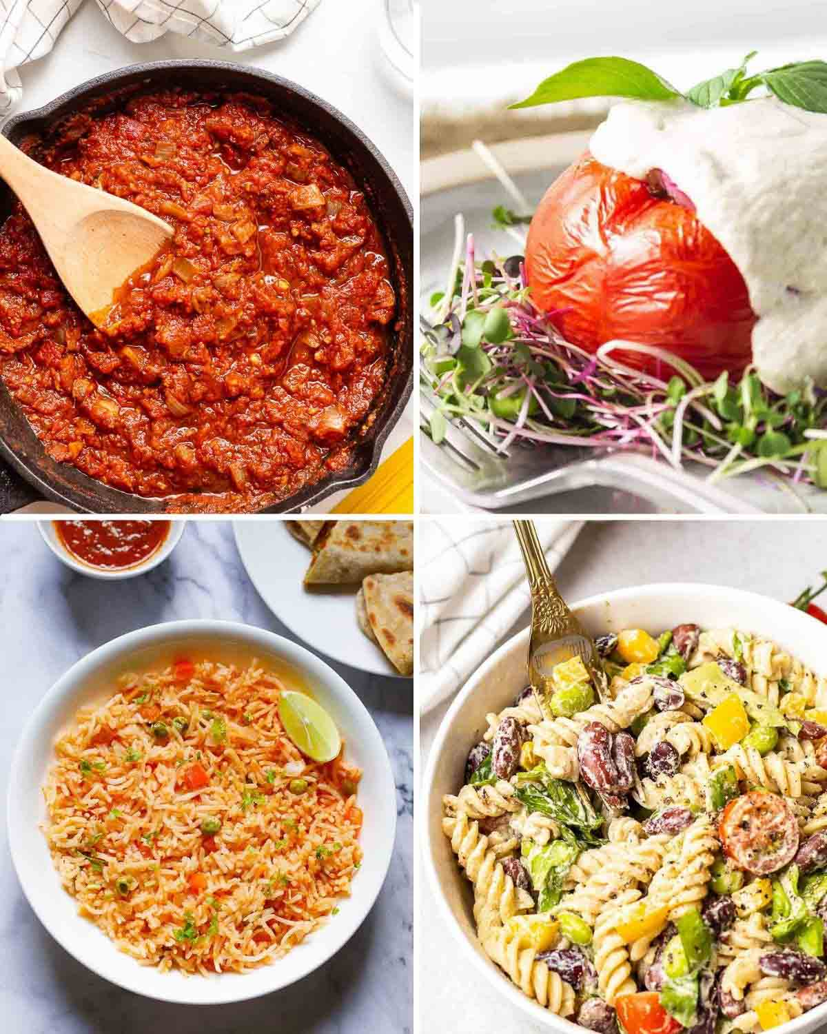 A collage of marinara sauce in pan, stuffed tomatoes, Mexican rice in plate and pasta salad with fork.