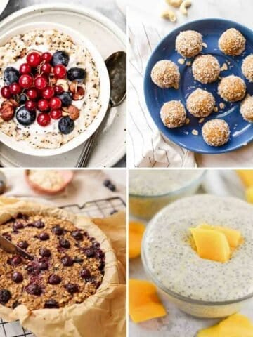 Collage of oats in bowl, bliss balls on blue plate, dish of baked oatmeal and chia pudding topped with mango chunks.