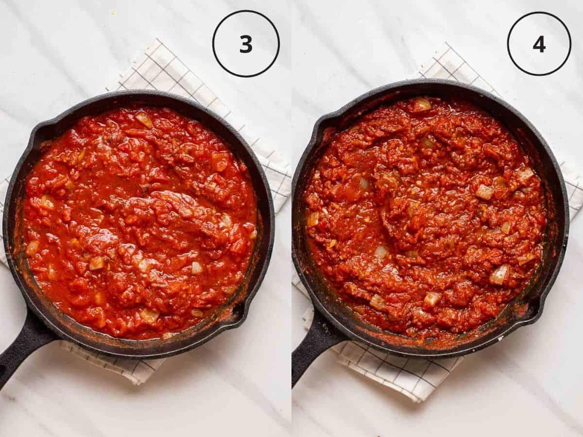 Collage showing cooking marinara sauce in black pan.