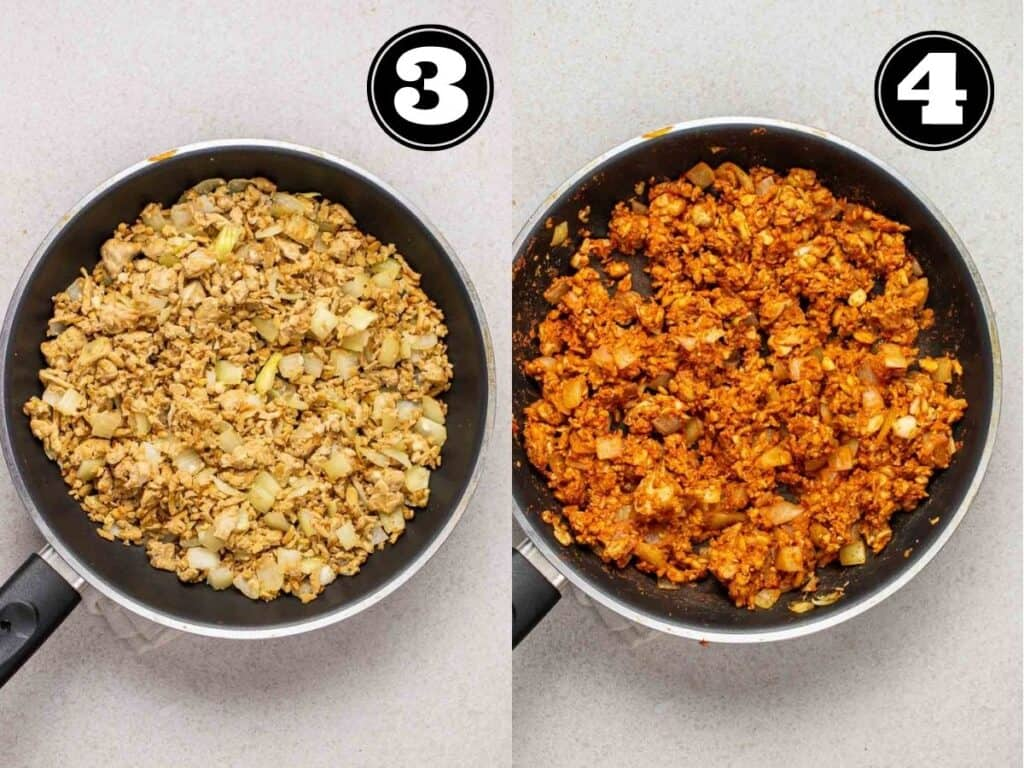 Collage showing cooking tempeh crumbles then adding in seasonings.