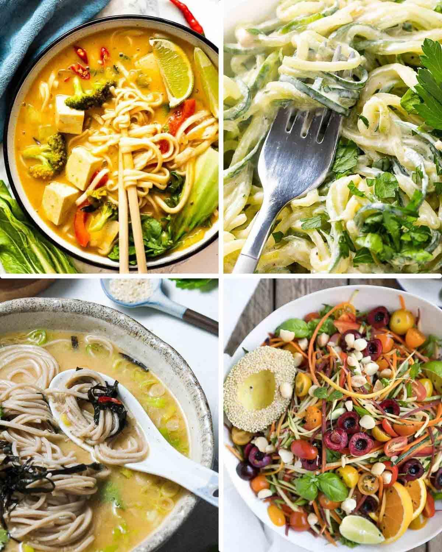 Collage of Thai coconut noodles, cucumber salad, peanut miso soup and noodles salad.