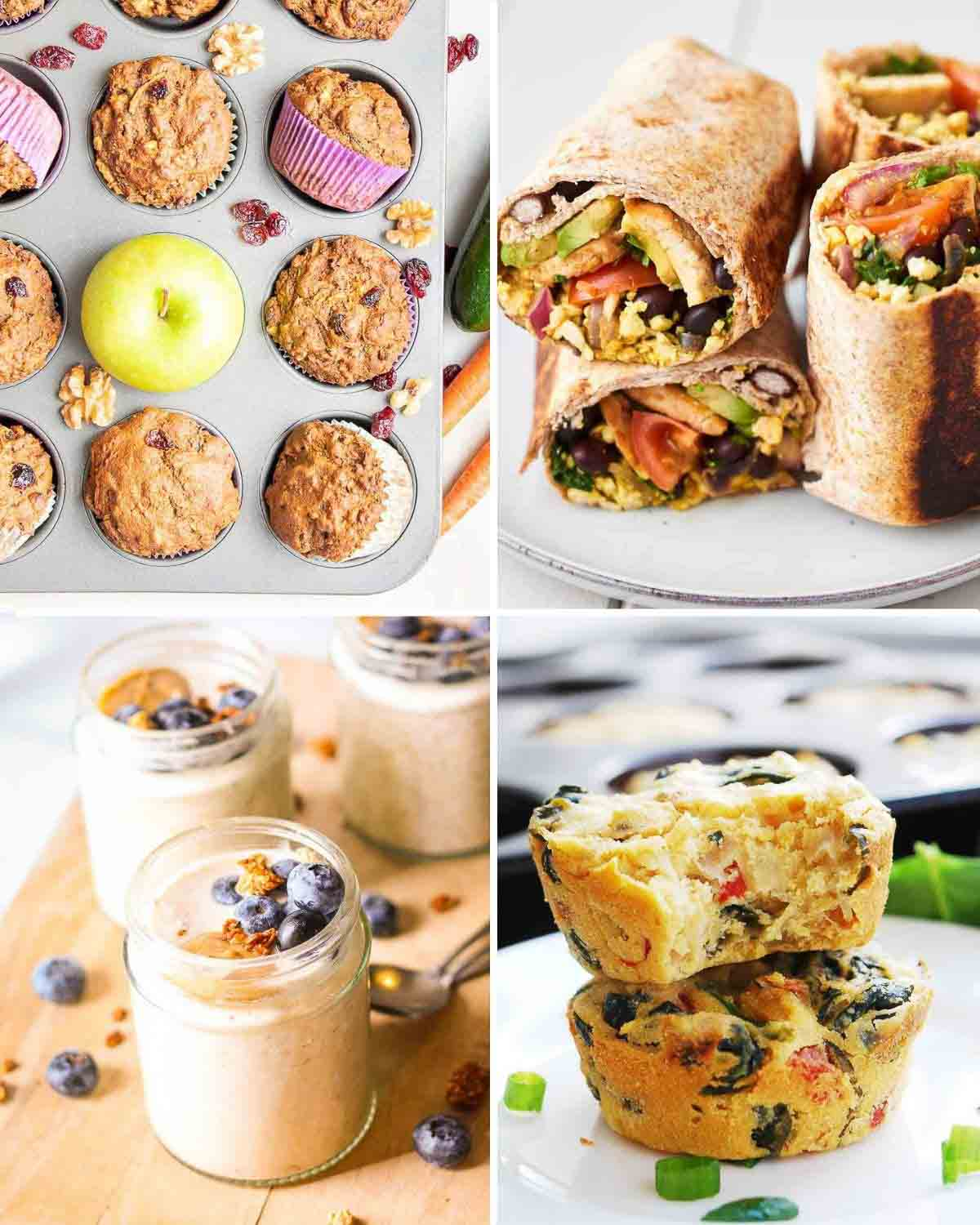 Collage of muffin in tray, burritos in plate, 3 jar of overnight oats and 2 frittata on plate.