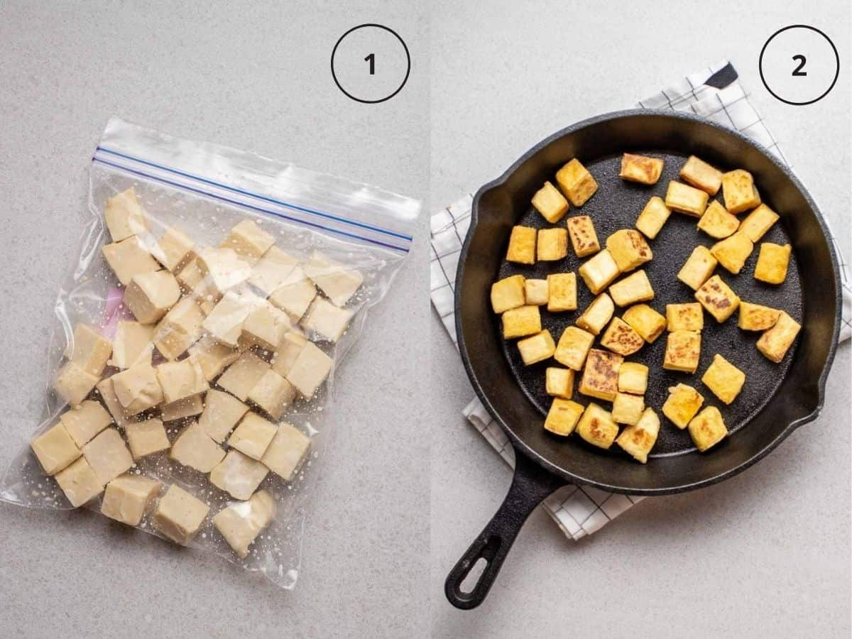Collage showing tofu cubes in a storage bag and cooking tofu in cast iron pan.