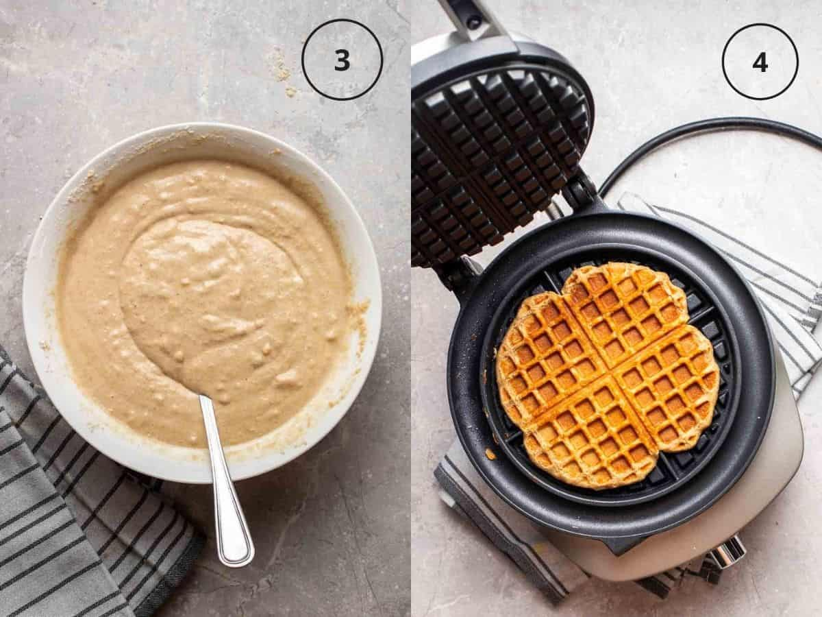 Collage showing waffle batter in bowl and waffle in waffle maker.