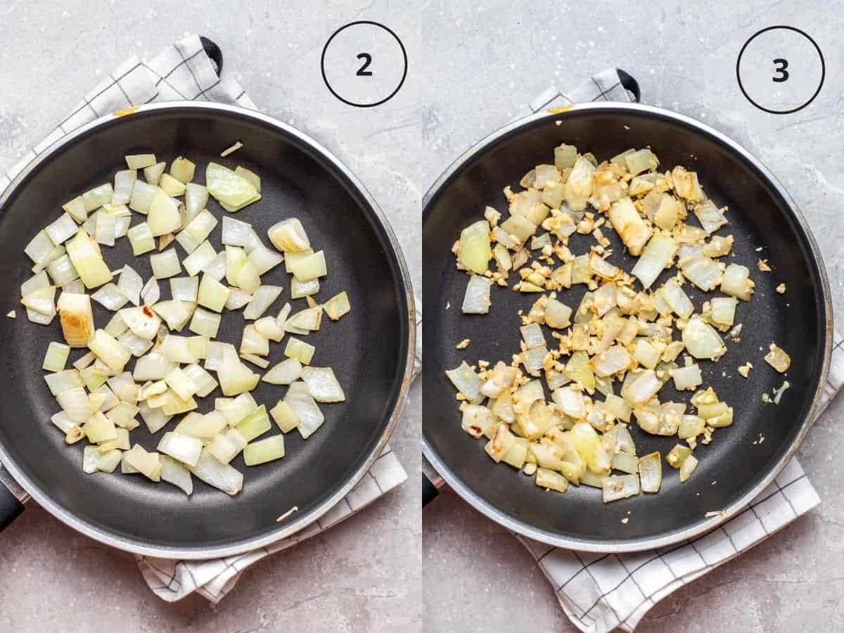 Collage of first sauteing onion then adding in garlic into a black pan.