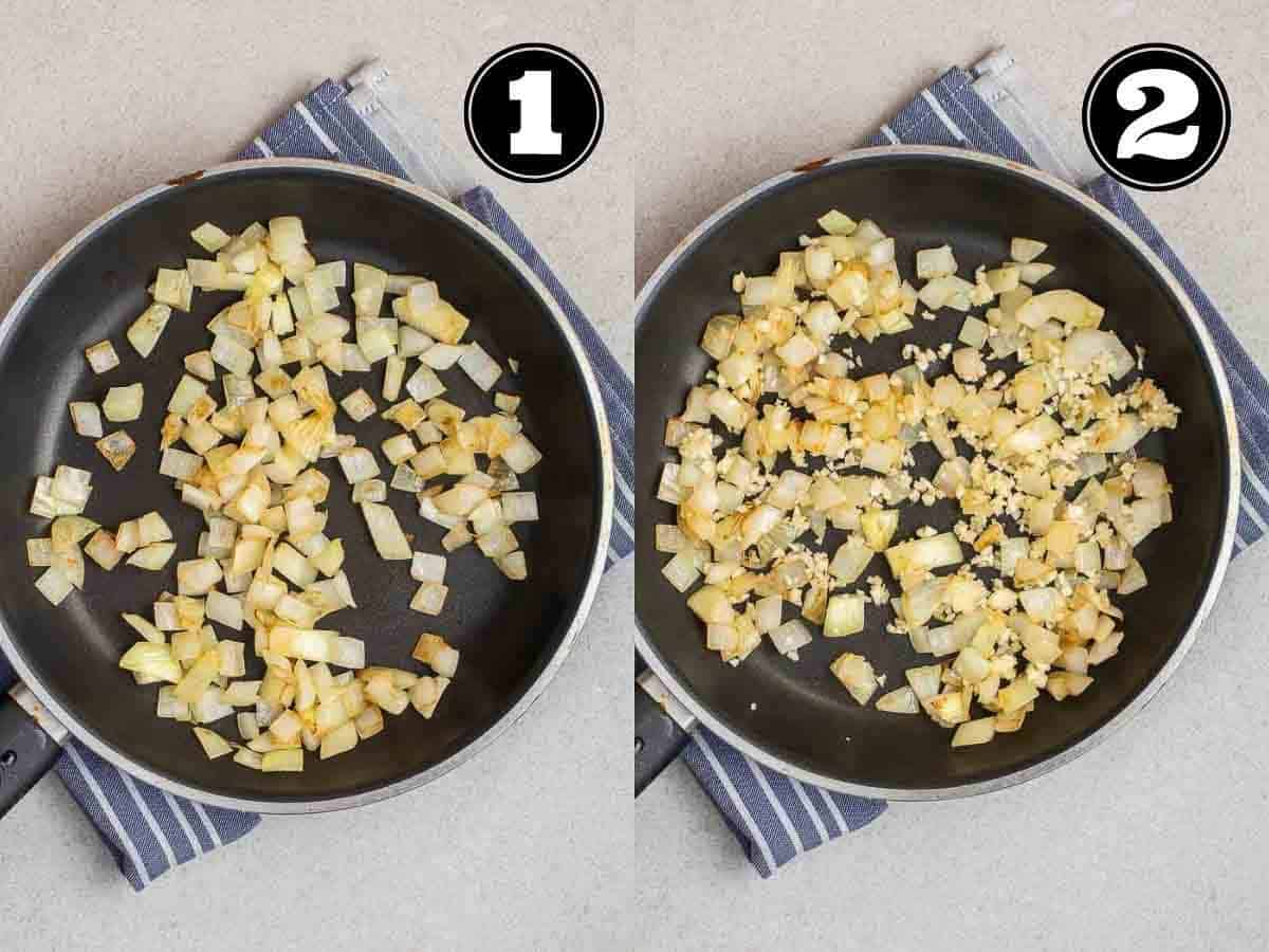 Collage showing cooking onion then adding in garlic in a black pan.