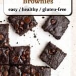 A tray of brownies arranged on a parchment paper with text overlay.