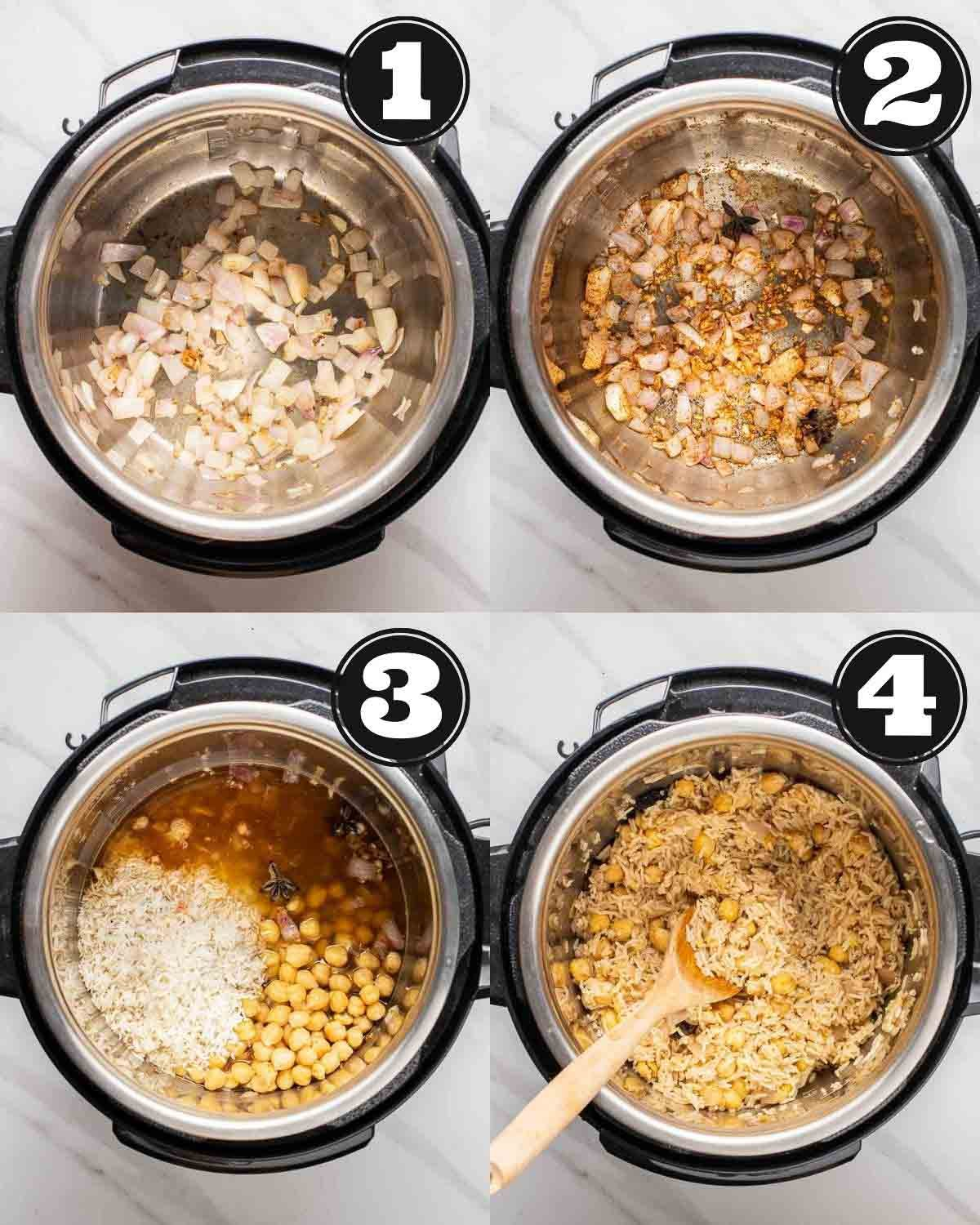 Collage of sauteing onion, adding in garlic and spices, and cooking chickpea pulao in an Instant pot.