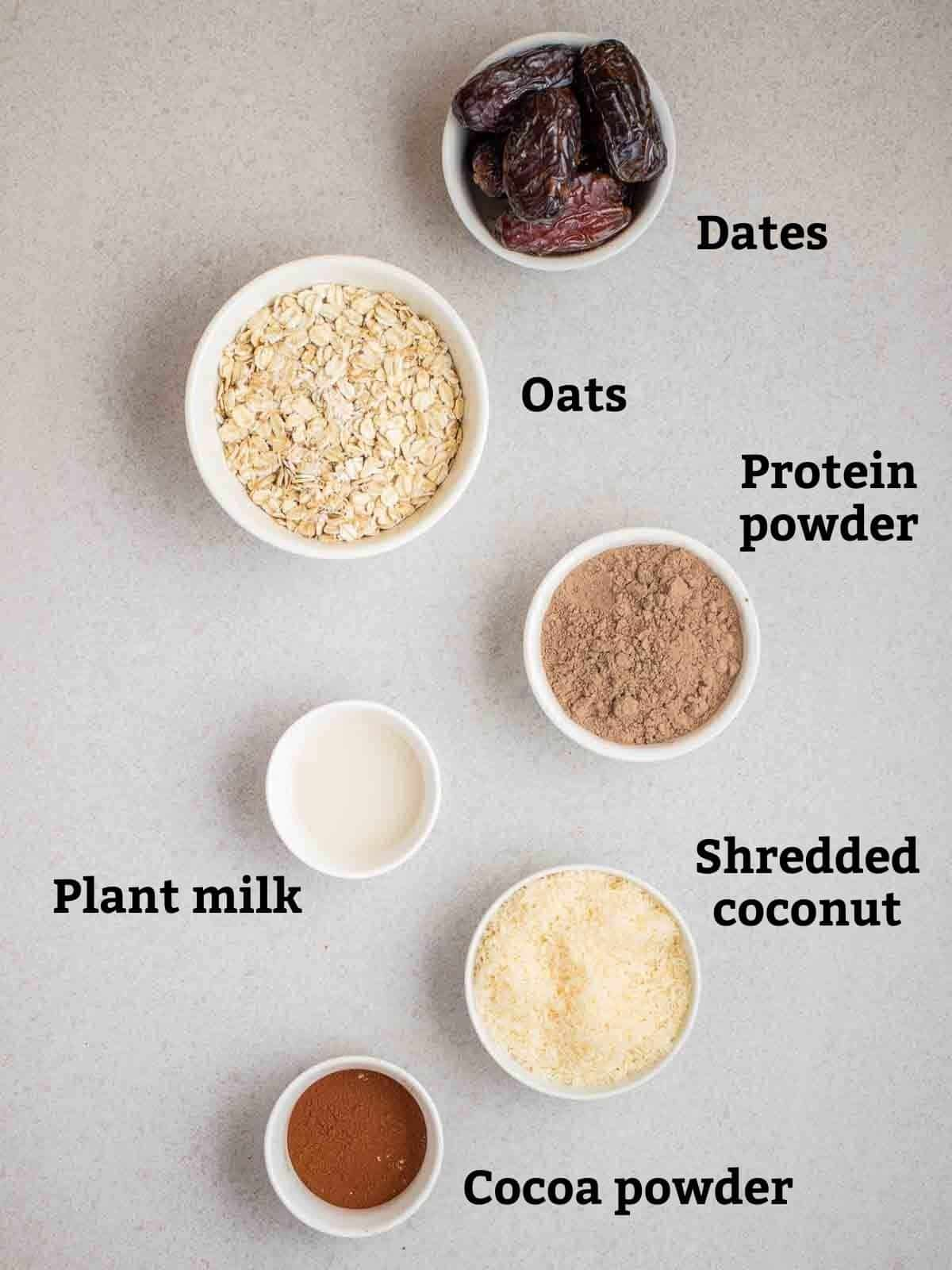 Ingredients needed like dates, oats, protein powder, milk, coconut and cocoa powder.