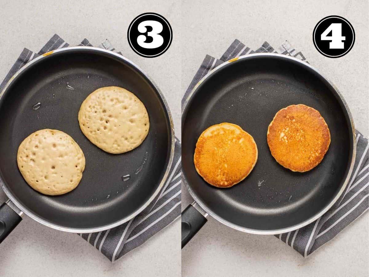 Collage showing cooking vegan protein pancakes in a black pan.