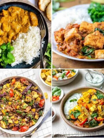 Collage of butter tofu served with rice, tofu curry served with rice, quinoa salad and tikka masala.
