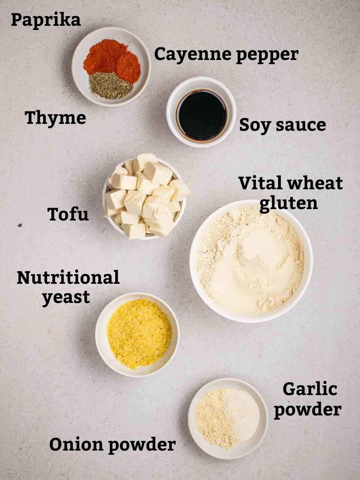 Ingredients needed like vital wheat gluten, tofu, soy sauce, nutritional yeast and seasonings.