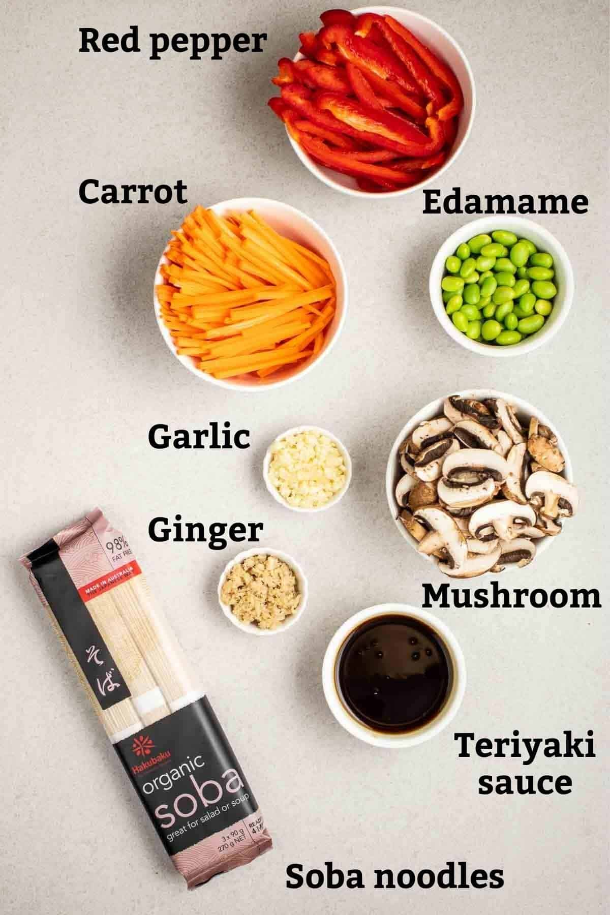 Ingredients needed like soba noodles, teriyaki sauce, ginger, garlic and other vegetables on a grey background.