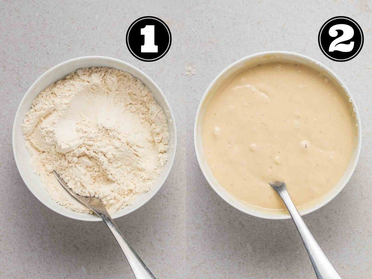 Collage of mixing dry ingredients then adding in wet ingredients in a white bowl with a spoon.