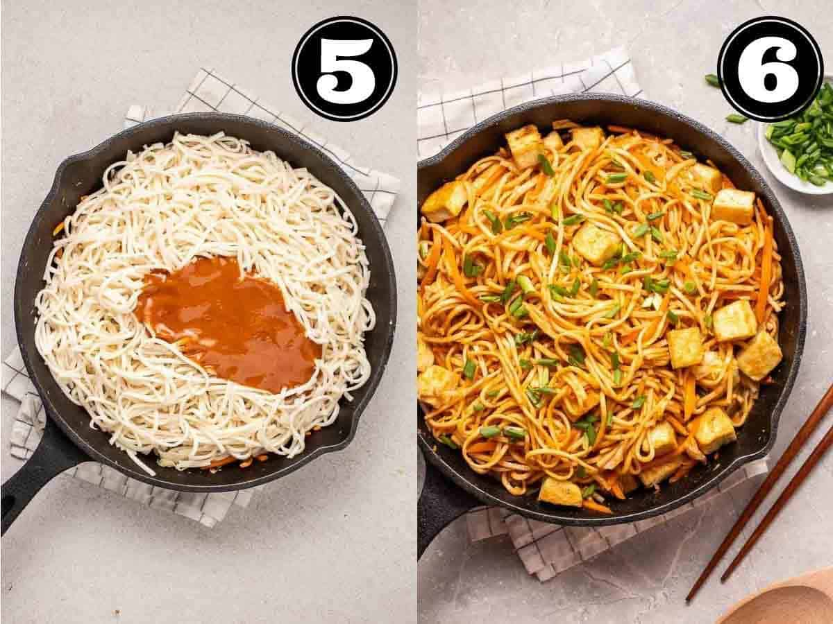 Collage showing adding noodles into pan and peanut noodles in a cast iron skillet with tofu.