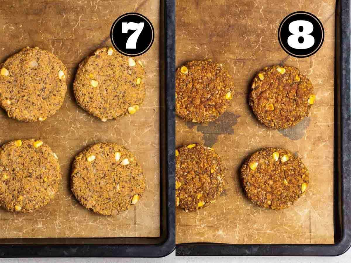 Collage showing before and after baking patties in a baking tray lined with parchment paper.