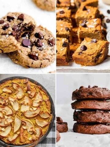 Collage of cookies, blondies, chickpea apple cake and stack of chocolate cookies.