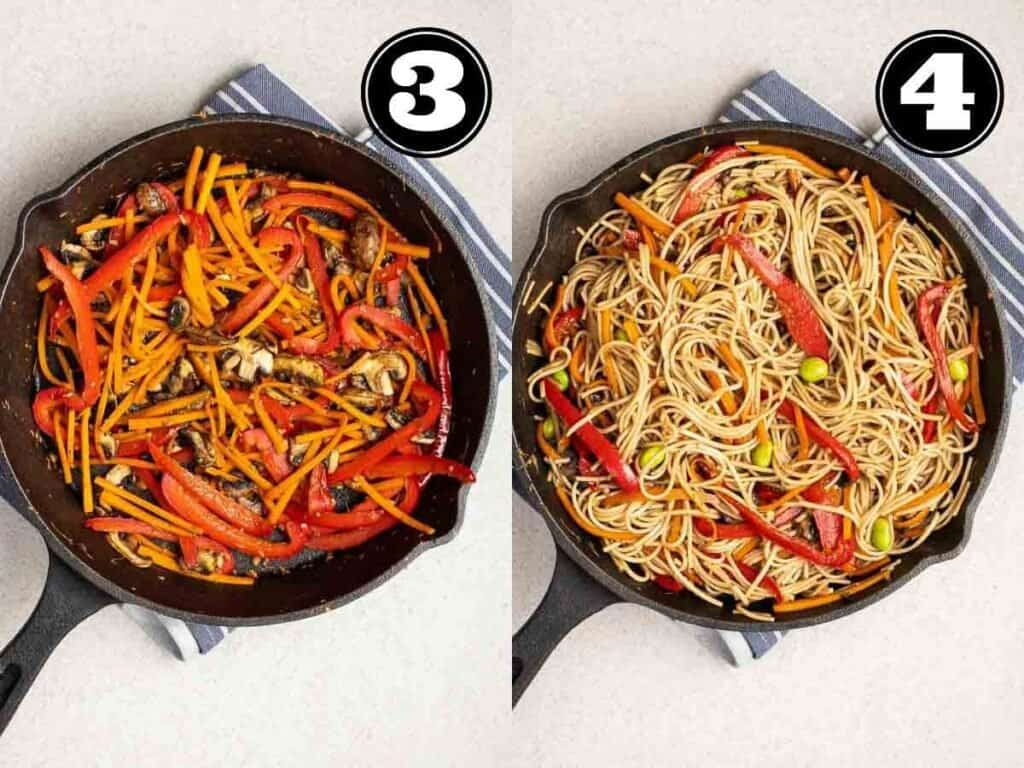 Collage showing cooking vegetables then adding in noodles in a cast iron skillet.