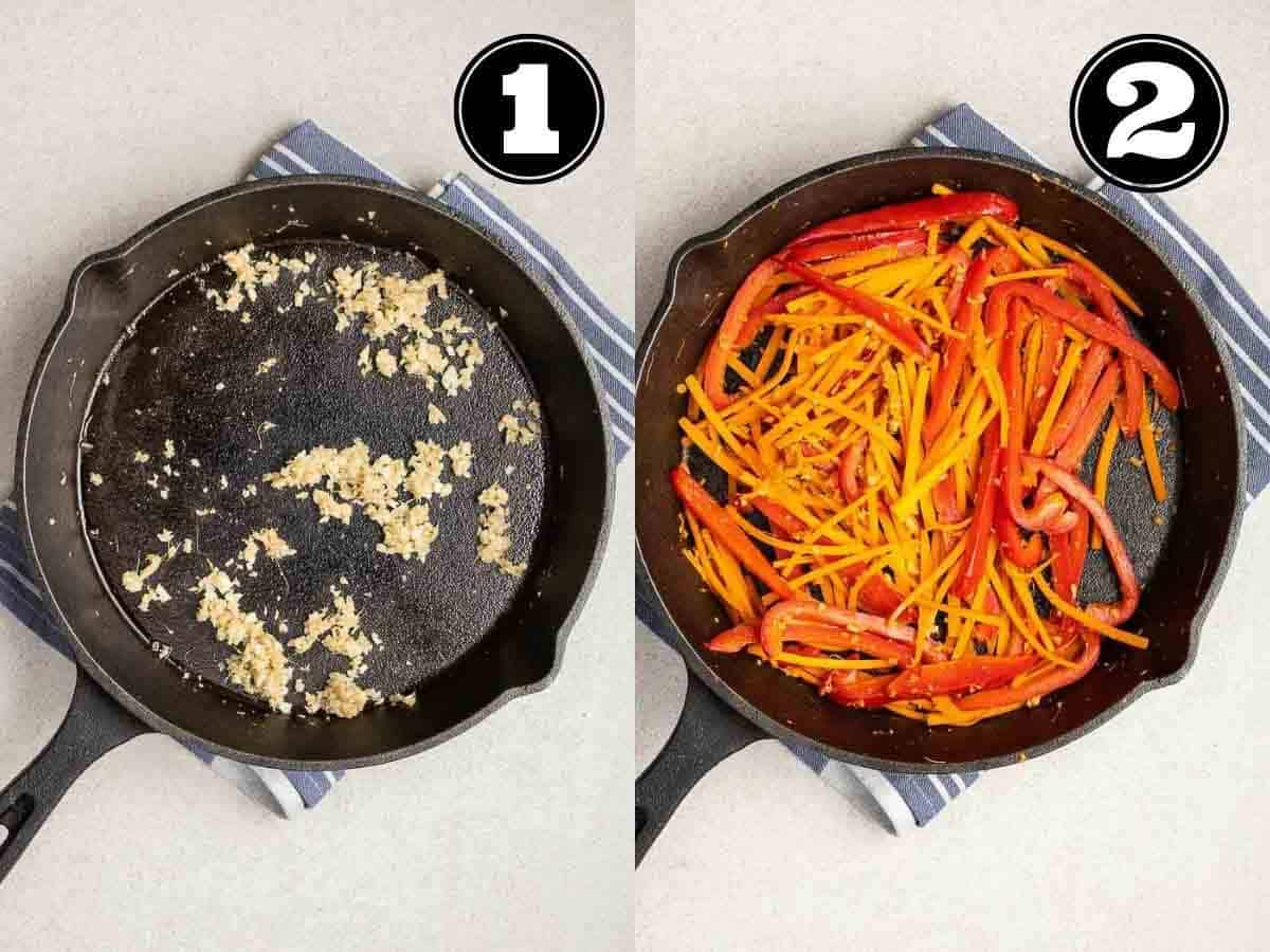 Collage showing sauteing onion then adding in red pepper and carrot in a skillet.