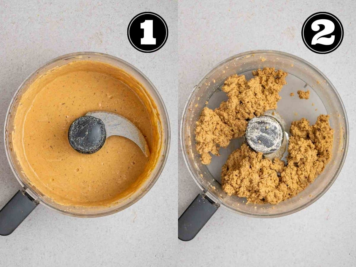 Collage showing tofu mixture then dough of sausages in a food processor.