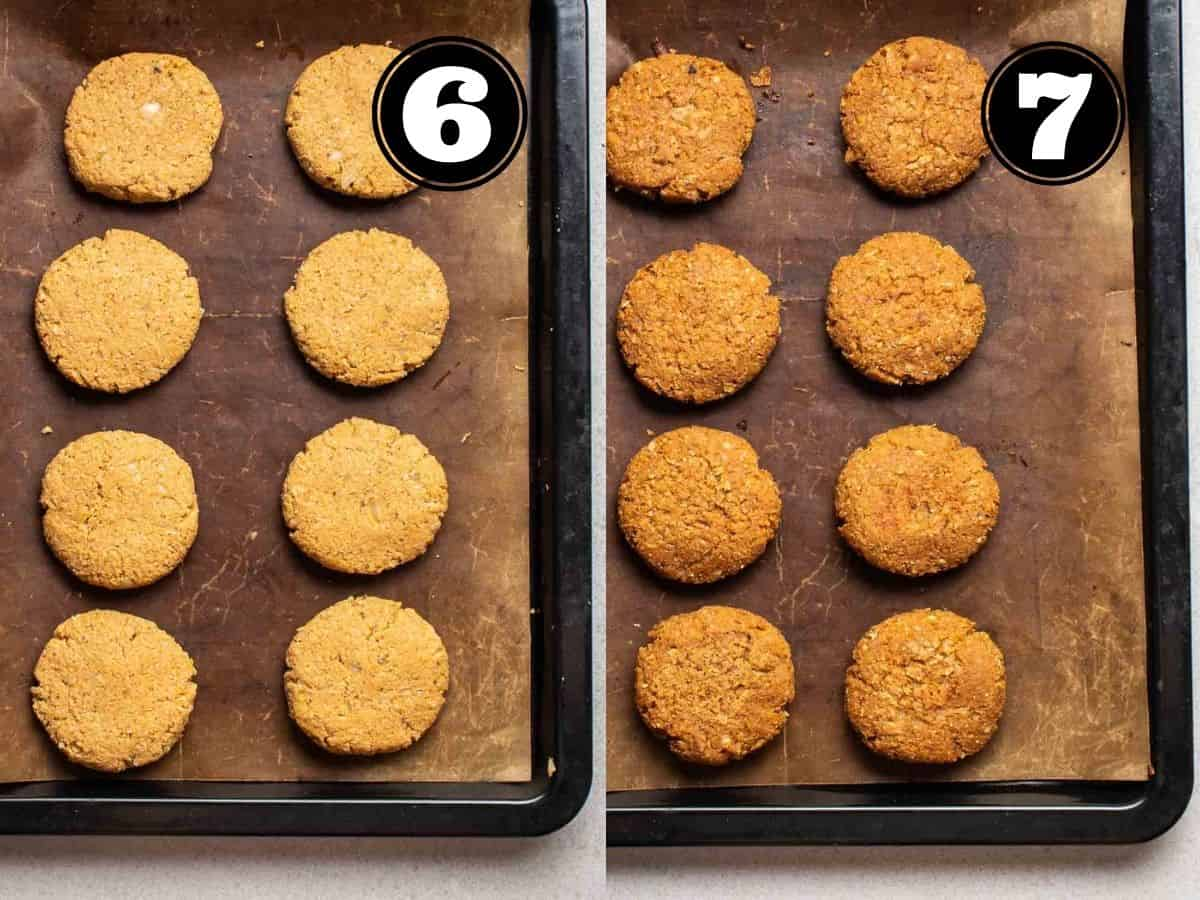 Collage showing before and after baking sausage patties in a baking sheet lined with parchment paper.