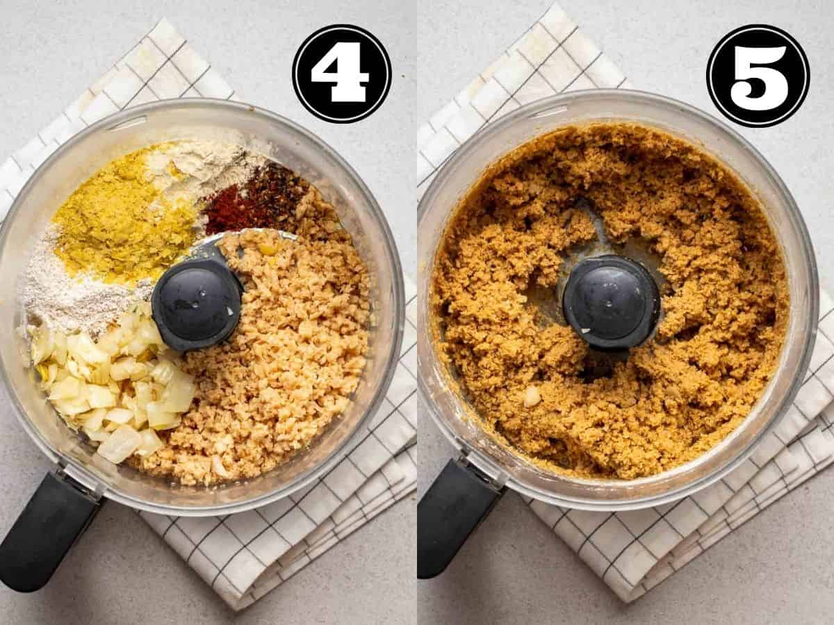 Collage showing before and after processing all ingredients in a food processor.