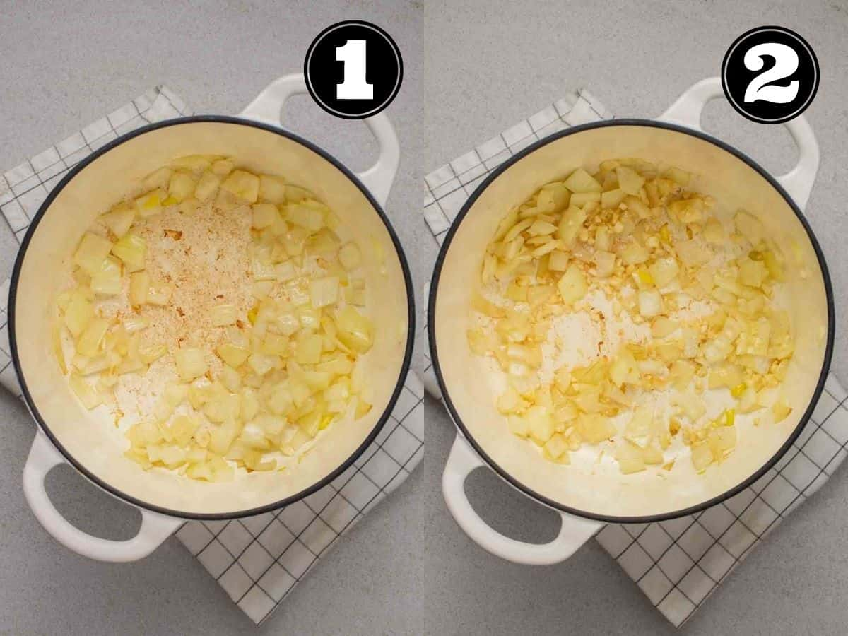 Collage showing cooking onion then adding in garlic in  white Dutch oven.