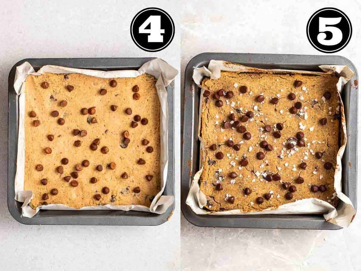 Collage showing before and after baking blondies in a square pan lined with parchment paper.
