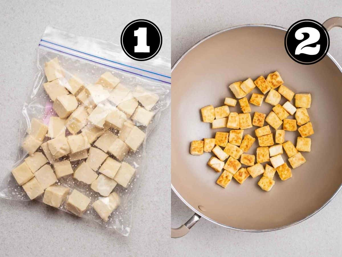 Collage showing tofu cubes in a zip top bag and tofu cubes in a wok.