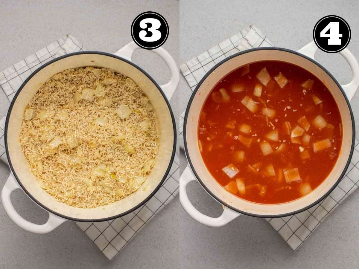 Collage showing toasting rice then adding in broth and diced tomatoes in a Dutch oven.