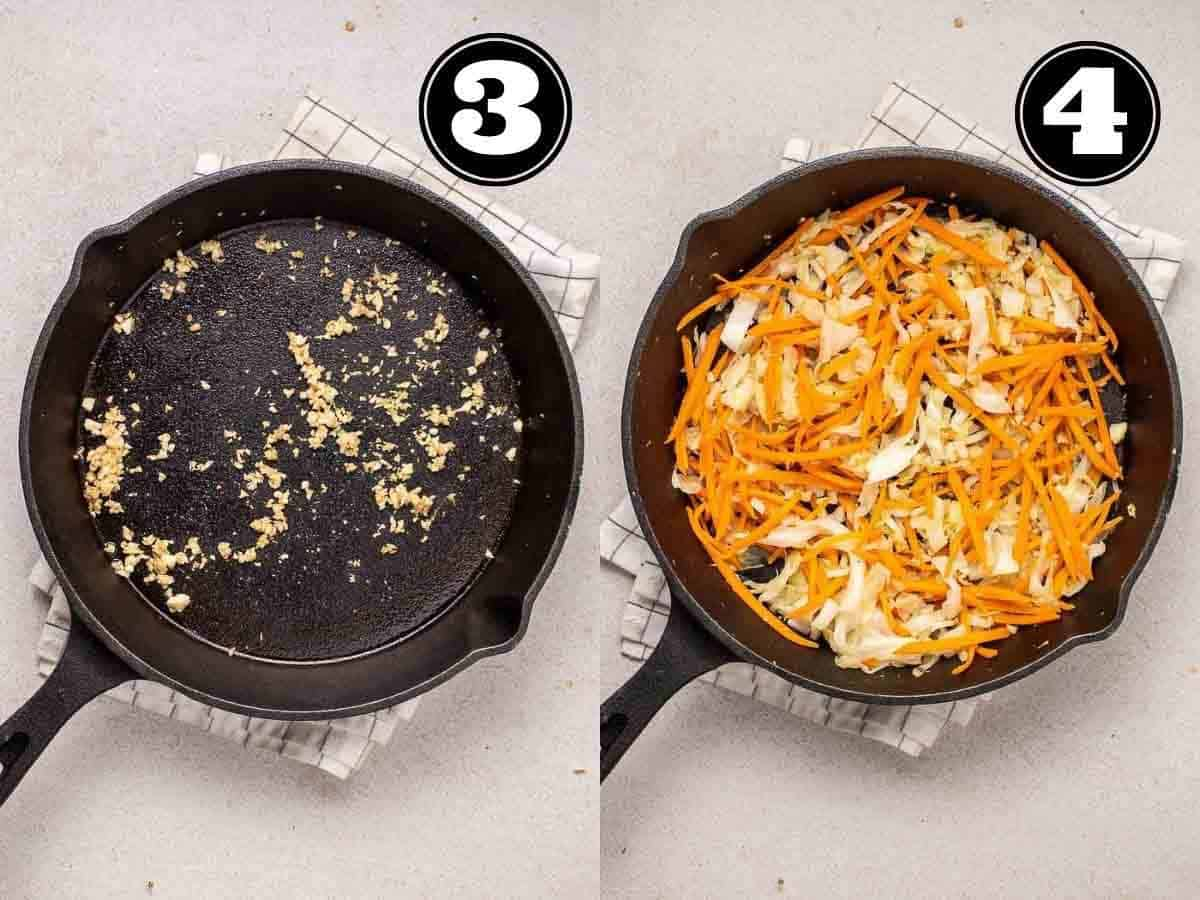 Collage showing sauteing garlic then adding in carrot and cabbage in a cast iron skillet.
