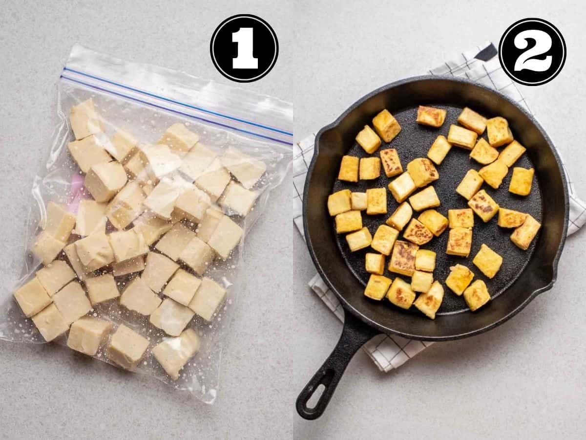Collage showing tofu in zip-top bag and pan fried tofu in a cast iron pan.