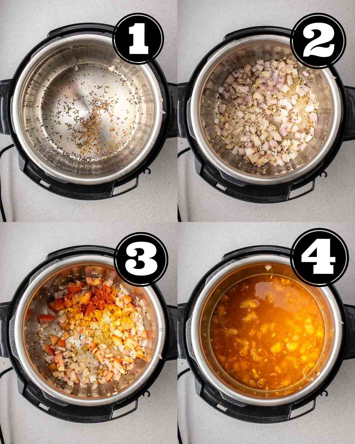 Collage showing toasting spices, adding in onion, add in garlic and tomato, and adding in water and lentils.