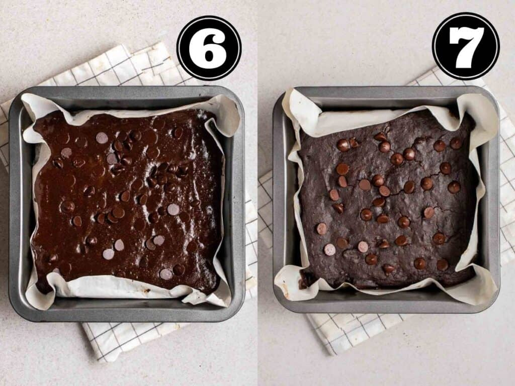 Collage showing before and after baking brownies in a lined baking pan.