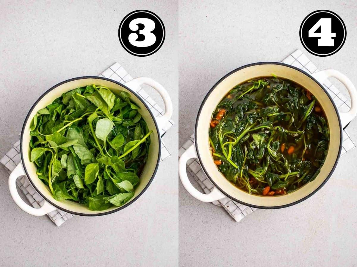 Collage showing cooking spinach in a white Dutch oven.