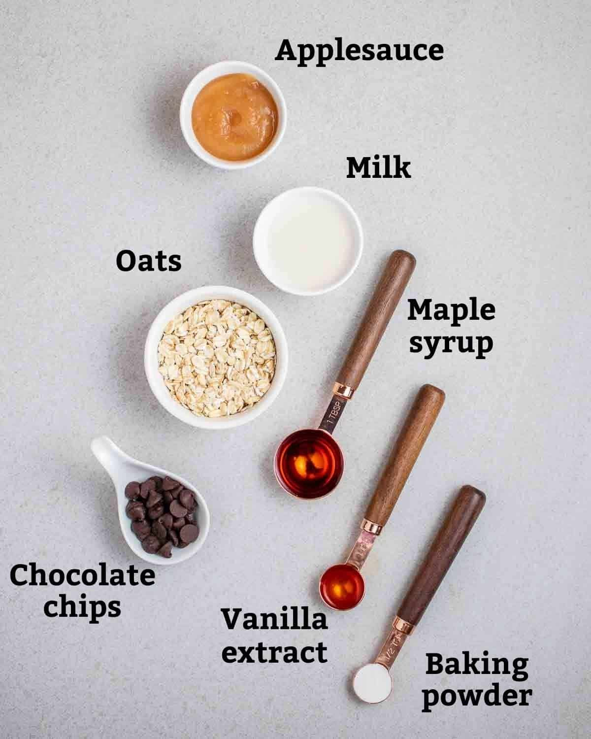 Ingredients needed like oats, maple syrup, milk, applesauce and chocolate chips.