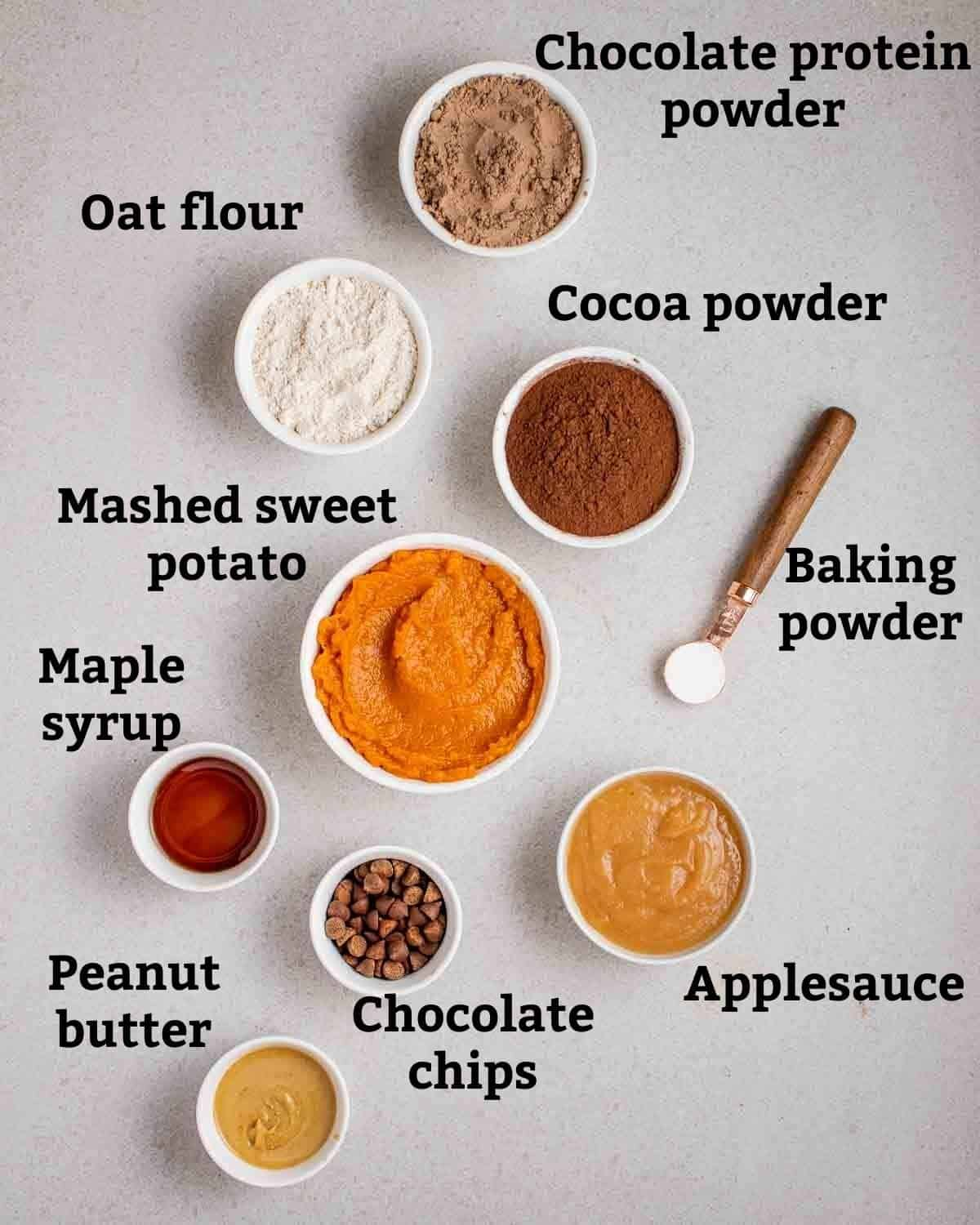 Ingredients needed like mashed sweet potato, protein powder, oat flour, applesauce and maple syrup.