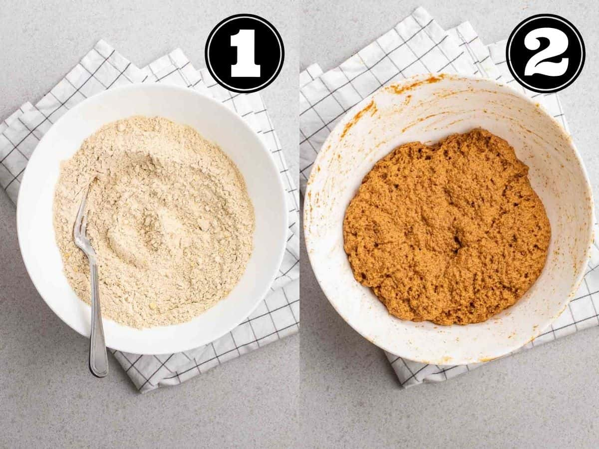Collage showing dry ingredients then dough of seitan bacon in a white bowl.