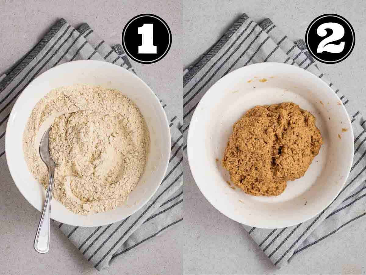 Collage showing dry ingredients then dough of sausages in a bowl with fork.