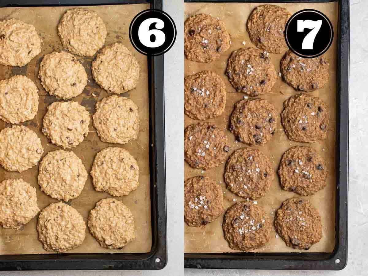 Collage showing before and after baking cookies in a lined black baking sheet.