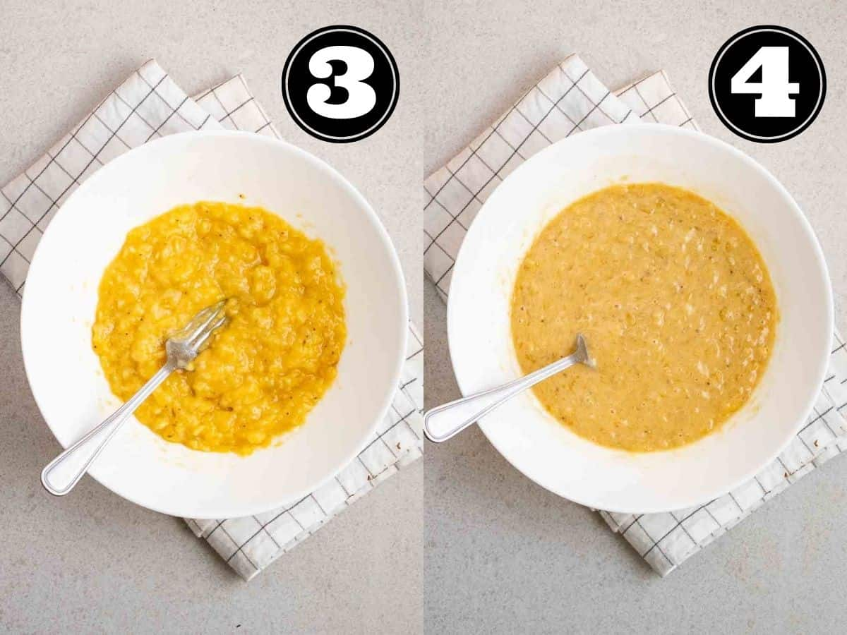 Collage showing mashed banana and wet ingredients in a bowl with fork.