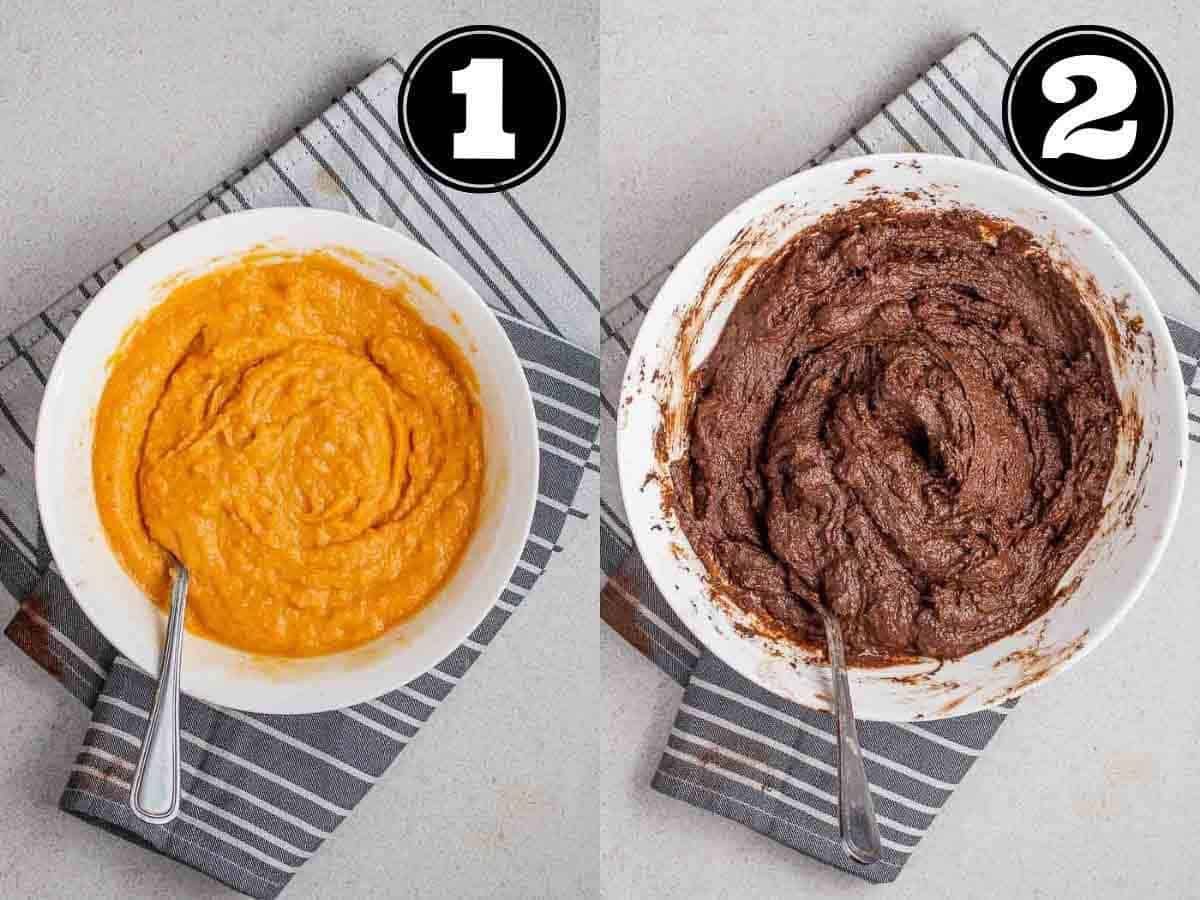 Collage showing wet ingredients and brownie batter in a white bowl with a fork.