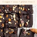 Taking out a slice of brownies on parchment paper with text in the upper half.