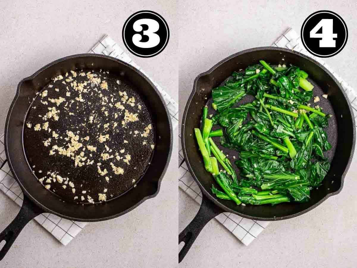 Collage showing cooking garlic then adding in gai lan in a cast iron skillet.