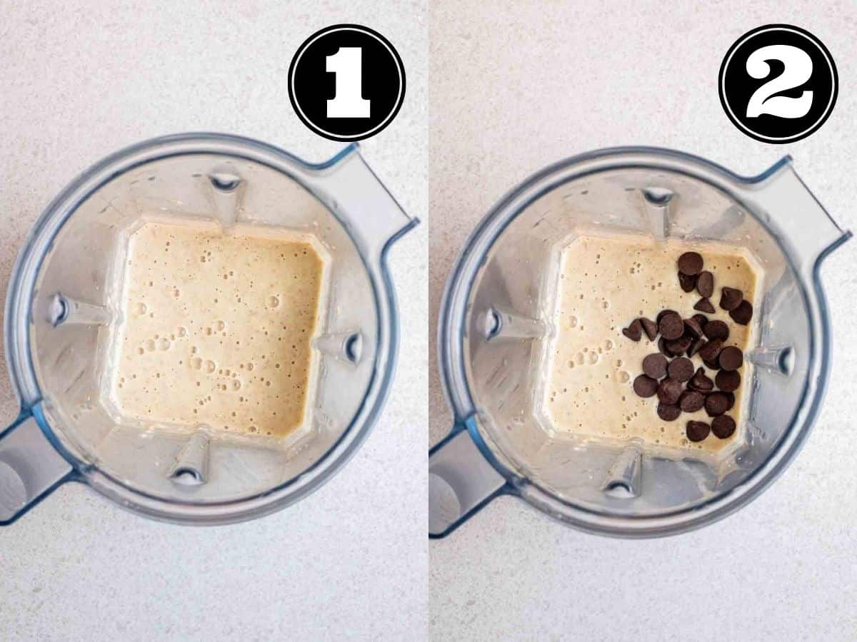 Collage showing baked oats batter in a blender then adding in chocolate chips.